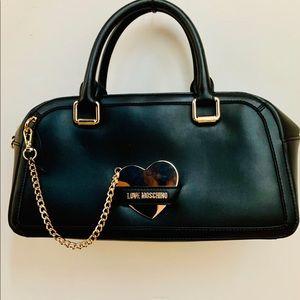 Love Moschino black bowler satchel with mirror